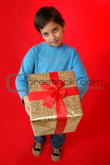 Boy with a christmas gift