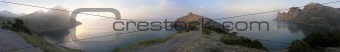 sunrise sea panoram with sun reflection and mist