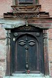 Nepalese carved wooden doorway with Buddhas eyes