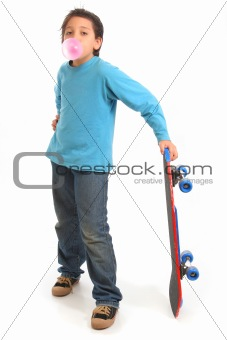 Boy blowing a bubble gum holding a skate