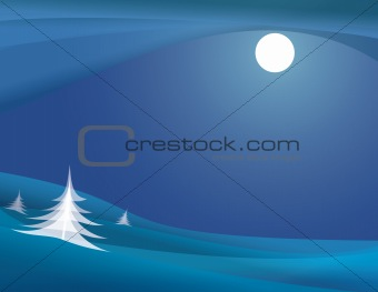 Abstract Moonlit Winter Night Illustration