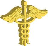 3d caduceus medical symbol