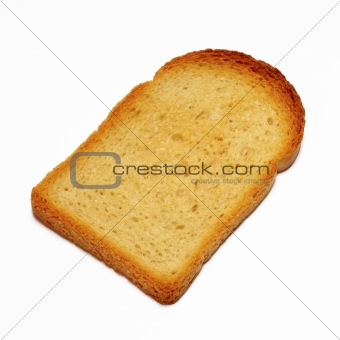 Slice of toasted bread isolated on white background with clipping path