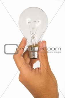 hand holding light bulb