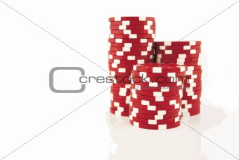Red Casino Chips 3 Part Stacks