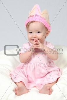 Baby Girl With Birthday Hat and hands together