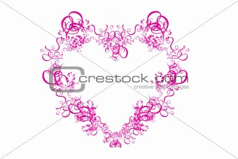 Abstract Pink Heart on White Background