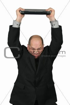 Business Man with Computer over his head