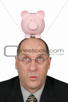 Business Man with Piggy Bank on head