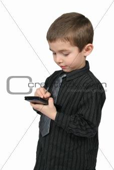 Little Business Man Using PDA