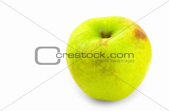 green apple on white