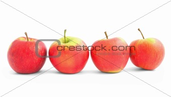 four apples in the line