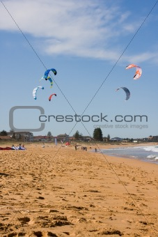 Kite Surfing At The Beach