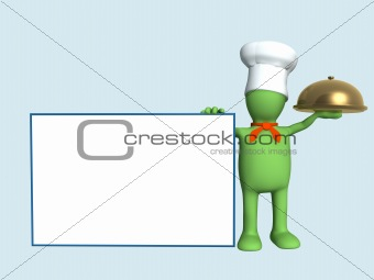 Background -  puppet chef with a gold dish
