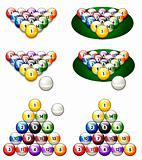  illustration of a glossy set of pool balls in proper perspectiv