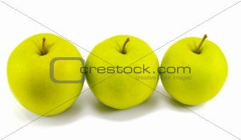 three fresh apples on white