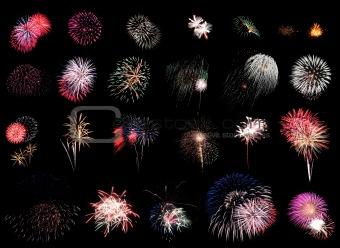 Fireworks Extravaganza on black