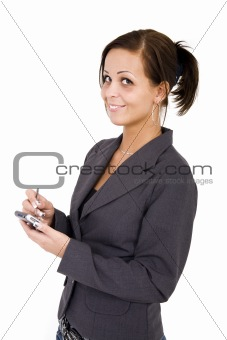 Business woman with PDA