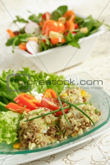 Healthy food - rice and vegetable salads