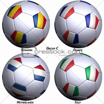Four soccer-balls with flags