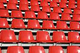 Red seats in a sports stadium