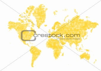 Abstract yellow triangles world map