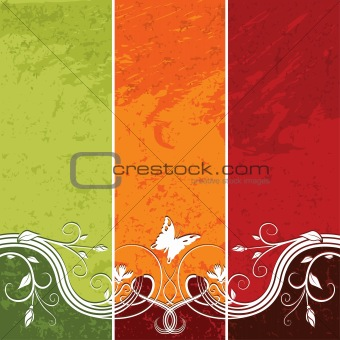 Floral and Stained Background