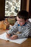 1st grade boy doing homework