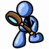 Blue Man Detective with Magnifying Glass