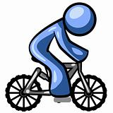 Blue Man Riding a Bike