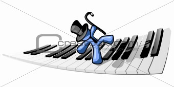 Blue Man Dancing on Piano Keys