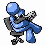 Blue Man Sitting Reading Side View