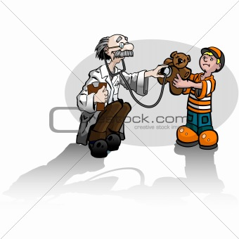 Boy and Teddy Bear and Doctor