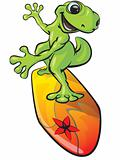 Gecko Character on a Surf Board