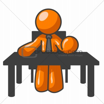 Orange Man at Table