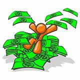 Orange Man Jumping in Money