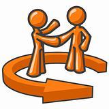 Orange Men Shaking Hands