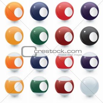 Blank Glossy Pool Balls