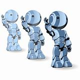 Glossy Blue Robots Ready to Work