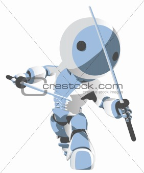 Blue Toon Robot Ninja With Katanas