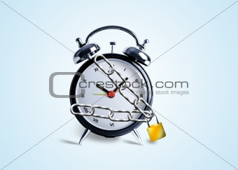 Clock tied in Chains and locked