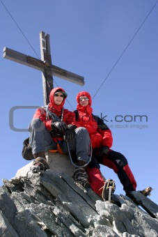 on the summit in alps