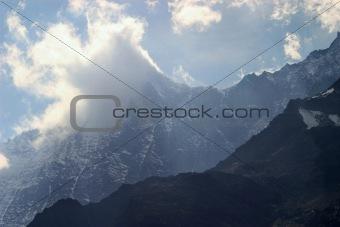 alps peak in the cloud