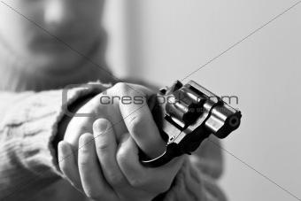 at gun point