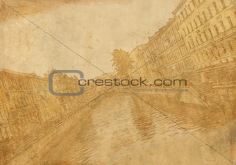 Old sheet paper with image of city street