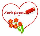 Love Note with Scarlet Pimpernel Flowers, Red Chickweed