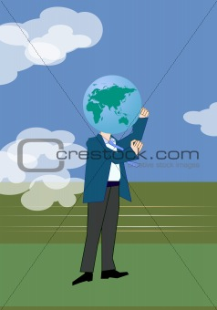 man with earth globe head