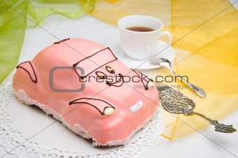 car cake with a cup of coffee