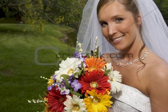 Bride with flowers bouquet