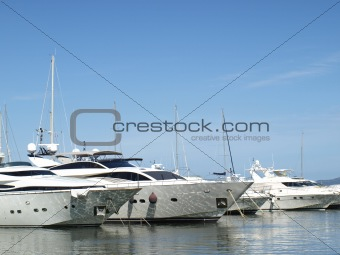 yachts in french riviera harbor